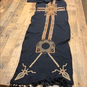 Johnny Was/ Biya Black Embroidered Scarf